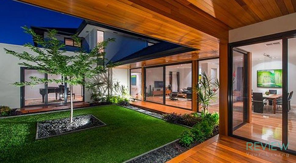 แบบบ้านสองชั้นดีไซน์สวย พร้อมสวนสไตล์โมเดิร์น