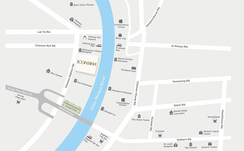 """แผนที่ โครงการ รีวิวคอนโด ริมแม่น้ําเจ้าพระยา """"The Residences@Mandarin Oriental, Bangkok"""""""