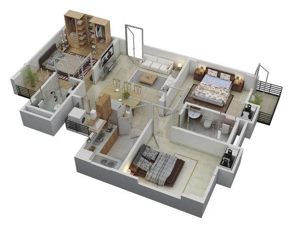 แบบบ้านชั้นเดียว เน้นพื้นที่ห้องนอน