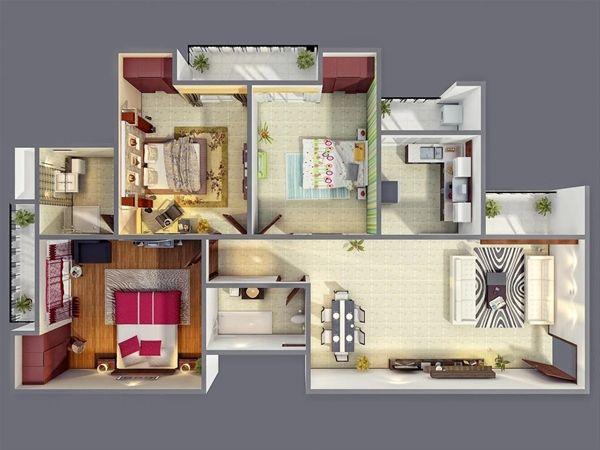 ห้องนอนมีระเบียงทุกห้อง ในแบบบ้านชั้นเดียว