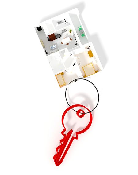 Keyring with a shape of a small apartment