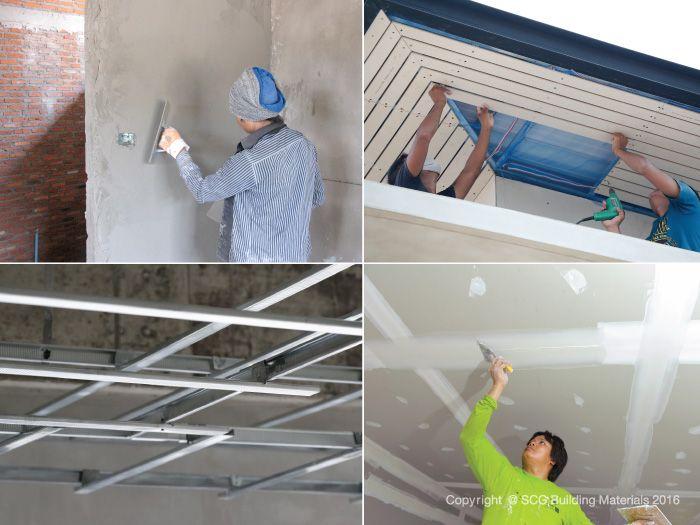 งานวัสดุตกแต่งพื้นผิว ขั้นตอนสร้างบ้าน ติดตั้งอุปกรณ์ ติดตั้งประตู-หน้าต่าง และงาน Build-In