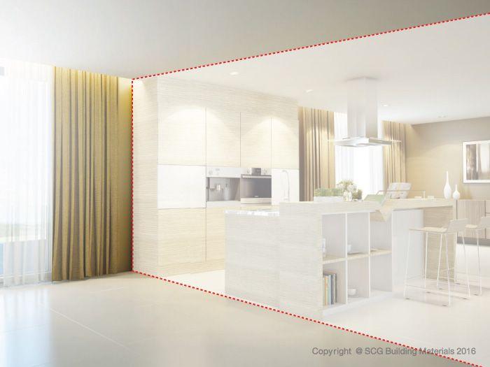 ระยะผนังกั้นห้องคอนโด ระหว่างห้องครัวและพื้นที่ใช้สอยอื่นๆ