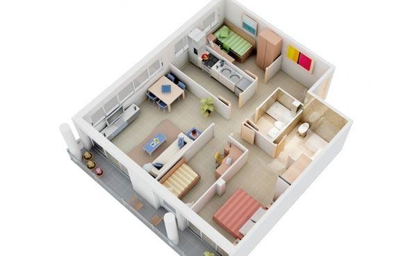 10 แบบบ้านชั้นเดียว 3D 3 ห้องนอน 2 ห้องน้ำ
