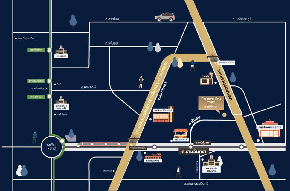 แผนที่ โครงการ บ้านกลางเมือง รามอินทรา