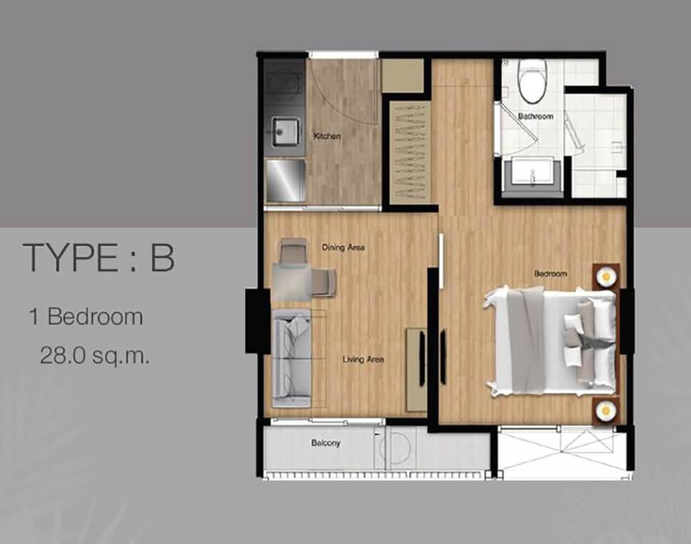 ห้อง 1 Bedroom คอนโด The Most Itsaraphap