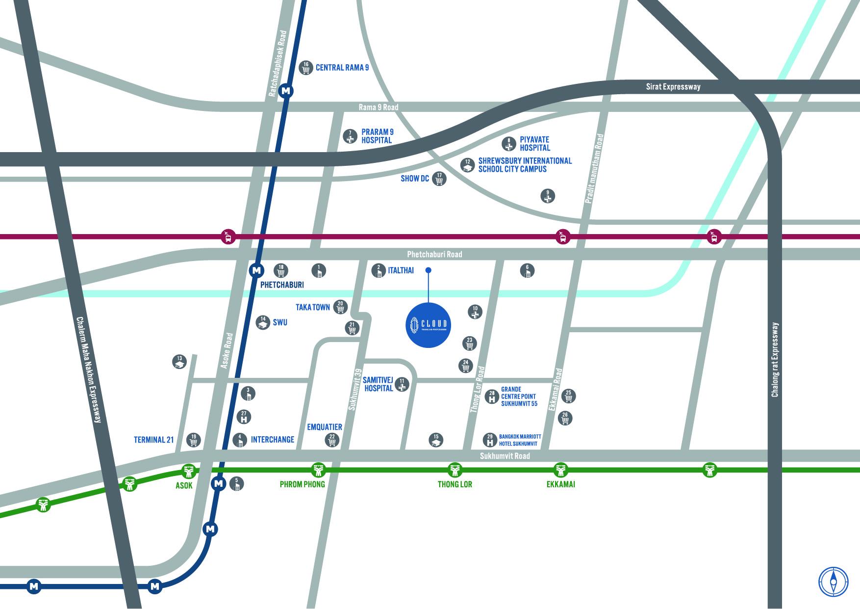 """แผนที่โครงการ """"CLOUD Thonglor-Phetchaburi"""" คอนโดย่านเพชรบุรี"""