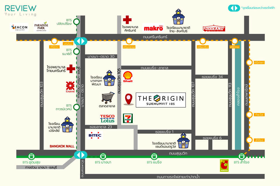 Review The Origin Sukhumvit 105 Map