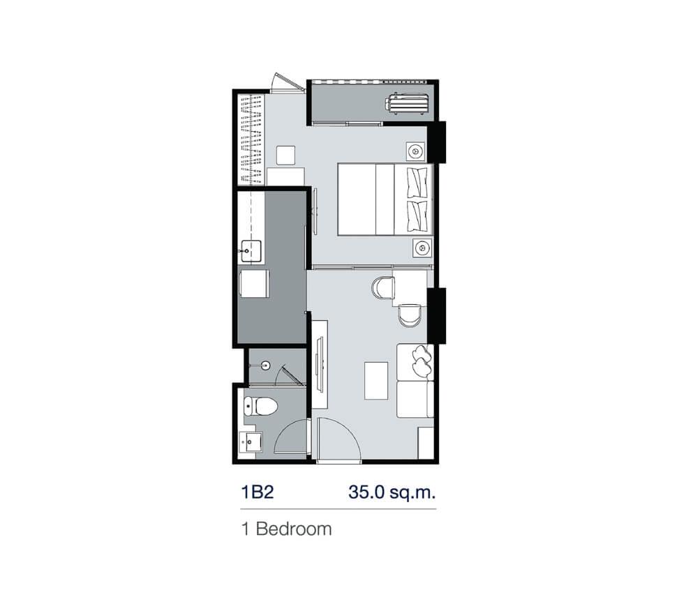 แปลนห้อง 1 Bedroom 35.00 ตร.ม. โครงการ Supalai Lite Thaphra Wongwian Yai