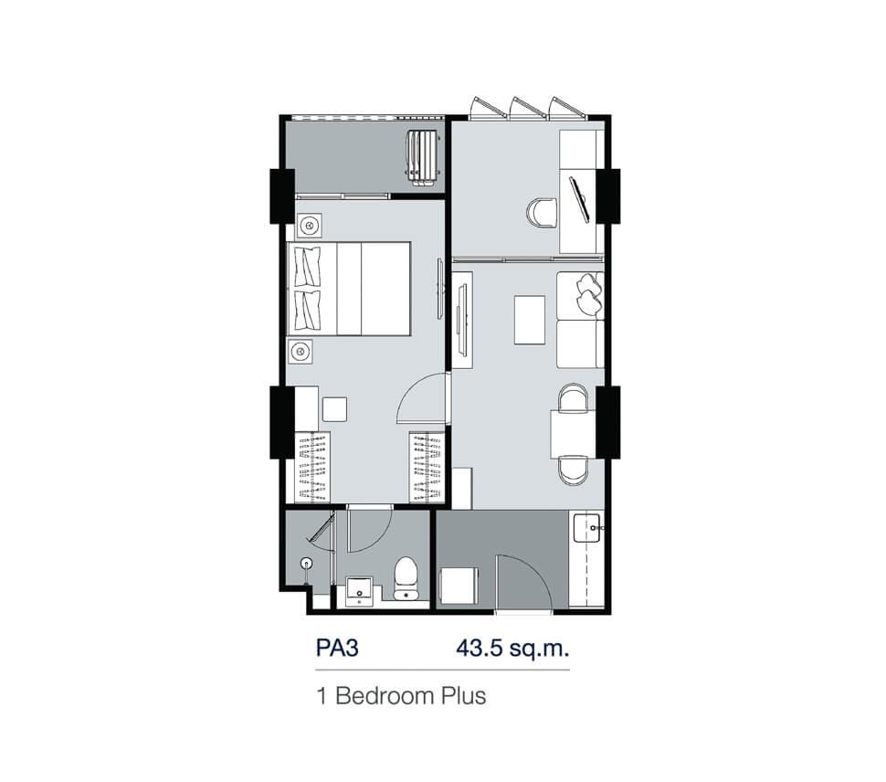 แปลนห้อง 1 Bedroom Plus 43.50 ตร.ม.คอนโด Supalai Lite Thaphra Wongwian Yai