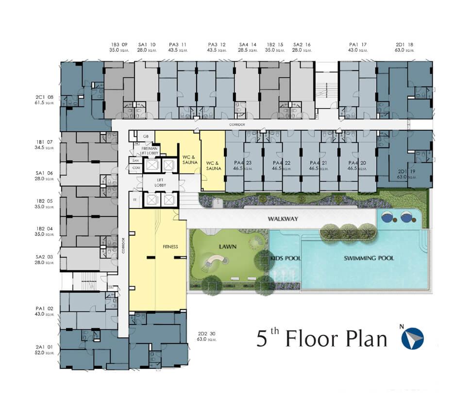 plan ชั้น 5 คอนโด Supalai Lite Thaphra Wongwian Yai
