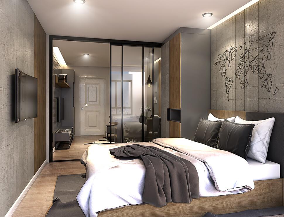 ห้อง 1 Bedroom คอนโด ใกล้รถไฟฟ้า The Cube Loft Srinakarin-Thepharak