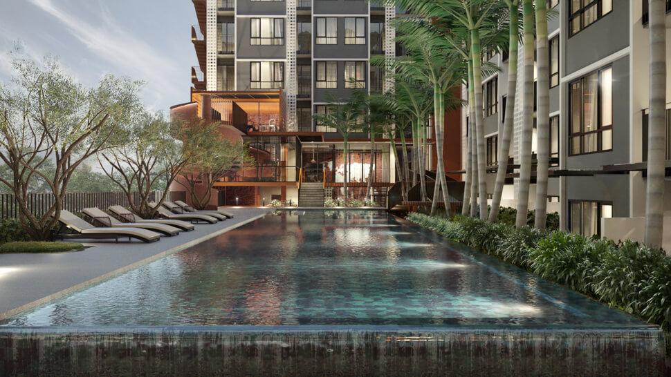 สระว่ายน้ำโครงการ The Cube Loft Srinakarin-Thepharak คอนโด ใกล้รถไฟฟ้า