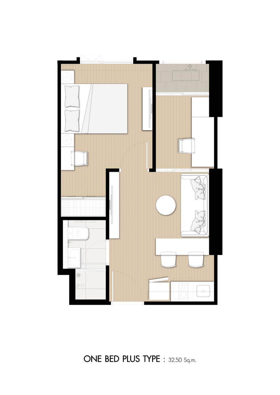 ห้อง 1 Bedroom Plus คอนโด Denim Jatujak