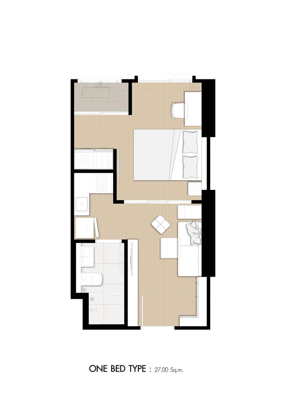 ห้อง 1 Bedroom คอนโด Denim Jatujak