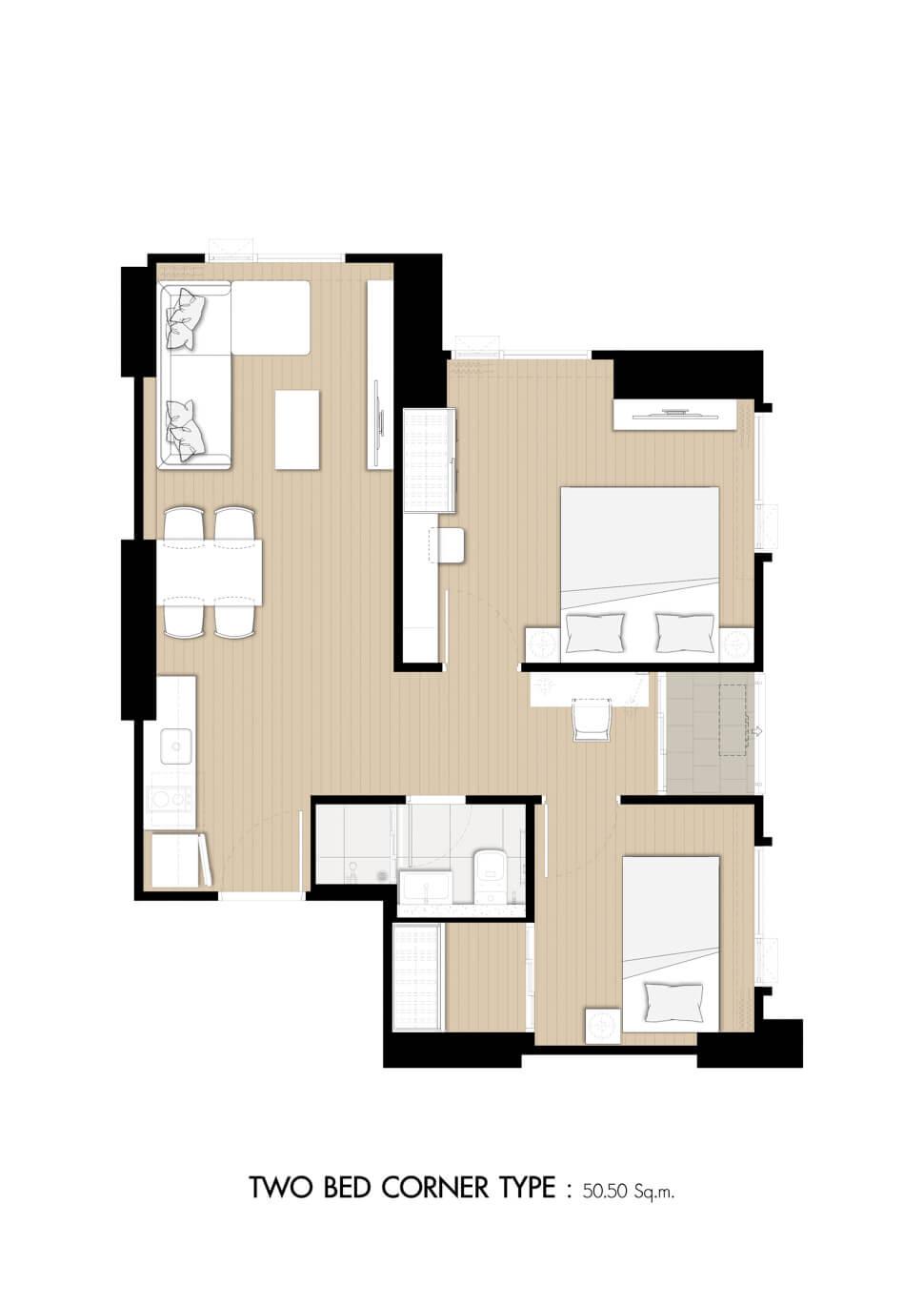 ห้อง 2 Bedroom คอนโด Denim Jatujak