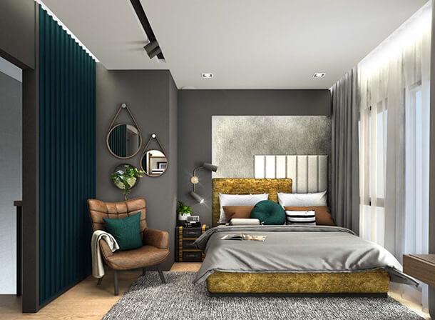"""Master Bedroom เพดานสูง ในโครงการ """"Pleno รามอินทรา บางชัน สเตชั่น"""" ทาวน์โฮม ใกล้รถไฟฟ้า"""