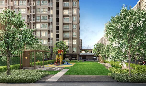 พื้นที่สีเขียวภายในโครงการ Supalai City Resort Charan 91 คอนโด จรัญ