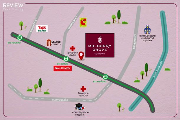 แผนที่โครงการ Mulberry Grove Sukhumvit - Map