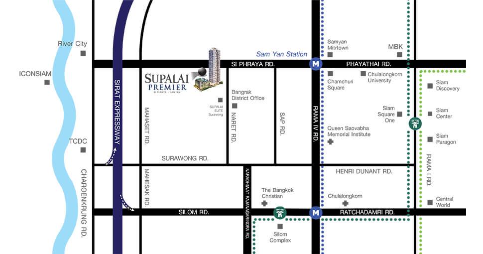 Supalai Premier Siphraya Samyan Map